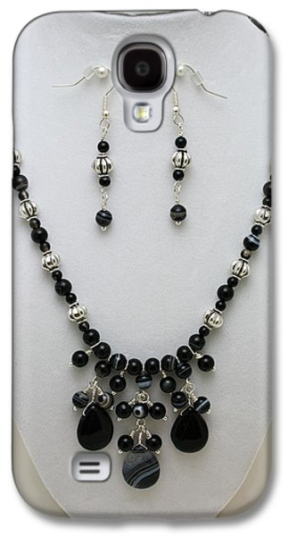 Handmade Jewelry Jewelry Galaxy S4 Cases - 3601 Black Banded Onyx Necklace and Earrings Galaxy S4 Case by Teresa Mucha
