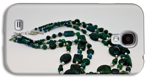 Silver Turquoise Jewelry Galaxy S4 Cases - 3609 Australian Jasper Triple Strand Necklace Galaxy S4 Case by Teresa Mucha