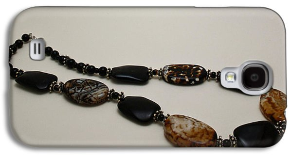Round Jewelry Galaxy S4 Cases - 3617 Crackle Agate and Onyx Necklace Galaxy S4 Case by Teresa Mucha