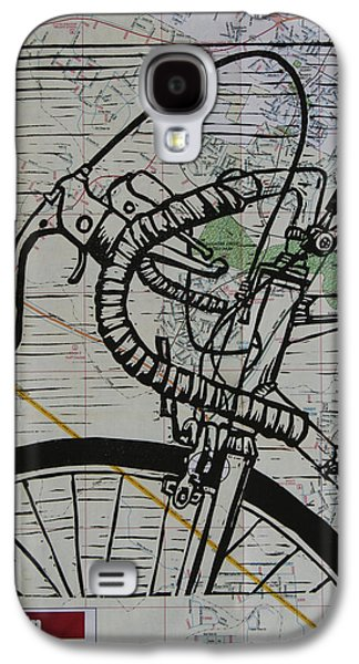 Lino Drawings Galaxy S4 Cases - Bike 2 on Map Galaxy S4 Case by William Cauthern