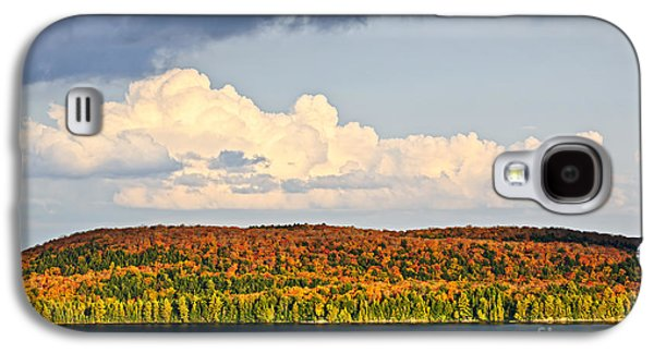 Colorful Cloud Formations Galaxy S4 Cases - Fall forest and lake Galaxy S4 Case by Elena Elisseeva