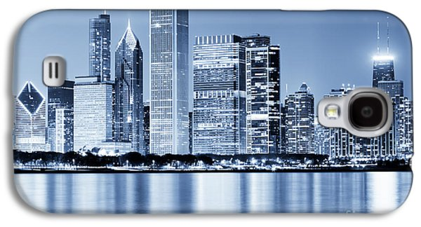 Stone Buildings Galaxy S4 Cases - Chicago Skyline at Night Galaxy S4 Case by Paul Velgos