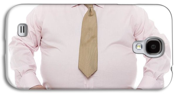 Button Down Shirt Photographs Galaxy S4 Cases - Overweight Man Galaxy S4 Case by