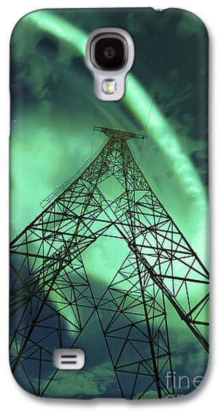 Component Photographs Galaxy S4 Cases - Powerlines And Aurora Borealis Galaxy S4 Case by Arild Heitmann
