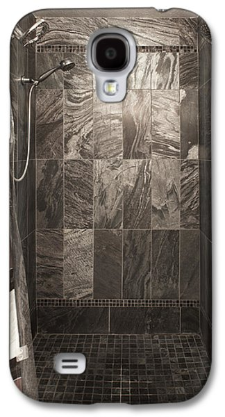 Shower Curtain Galaxy S4 Cases - A Bedroom In A House. A Double Bed Galaxy S4 Case by Christian Scully