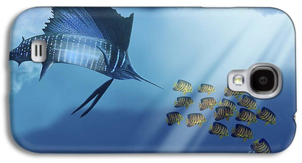 Striped Marlin Galaxy S4 Cases - A Blue Marlin Swims After A School Galaxy S4 Case by Corey Ford