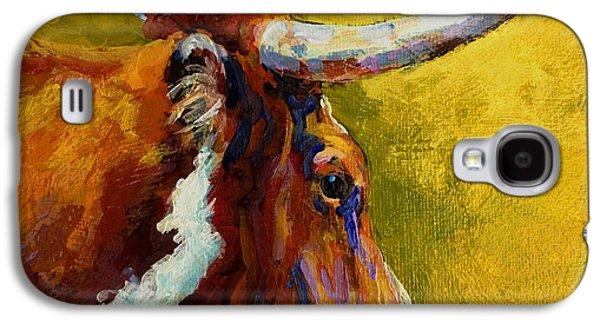 Steer Paintings Galaxy S4 Cases - A Couple Of Pointers - Longhorn Steer Galaxy S4 Case by Marion Rose