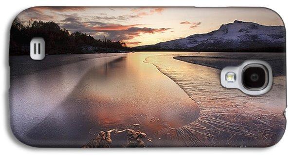 Sunset In Norway Galaxy S4 Cases - A Frozen Straumen Lake On Tjeldoya Galaxy S4 Case by Arild Heitmann