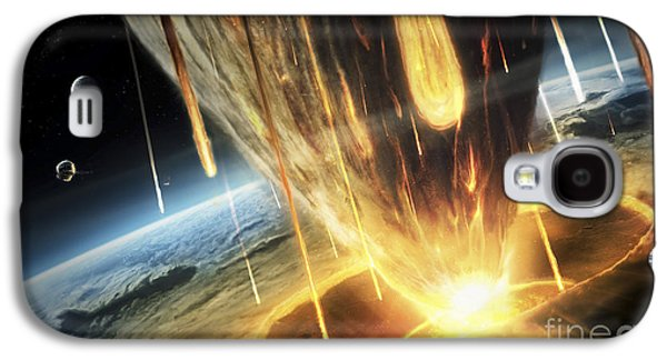 Planetoid Galaxy S4 Cases - A Giant Asteroid Collides Galaxy S4 Case by Tobias Roetsch
