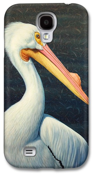 American Paintings Galaxy S4 Cases - A Great White American Pelican Galaxy S4 Case by James W Johnson