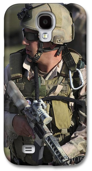 Fort Pierce Galaxy S4 Cases - A Military Reserve Navy Seal Kneels Galaxy S4 Case by Michael Wood