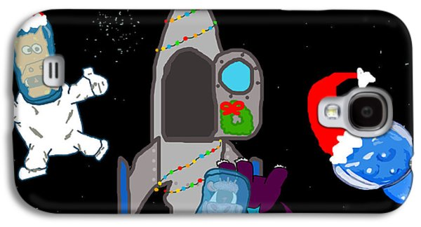 Puppy Digital Art Galaxy S4 Cases - A PuppyDragon Christmas in Space Galaxy S4 Case by Jera Sky