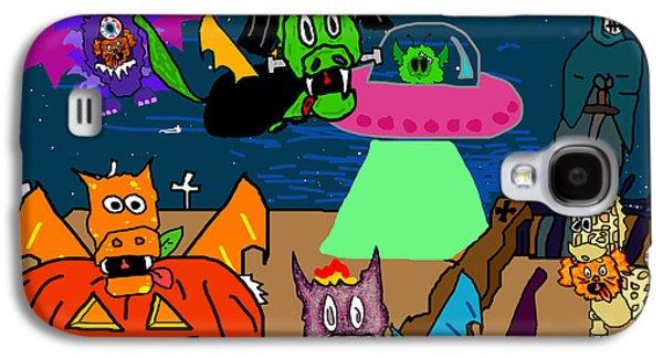 Puppy Digital Art Galaxy S4 Cases - A PuppyDragon Halloween Galaxy S4 Case by Jera Sky