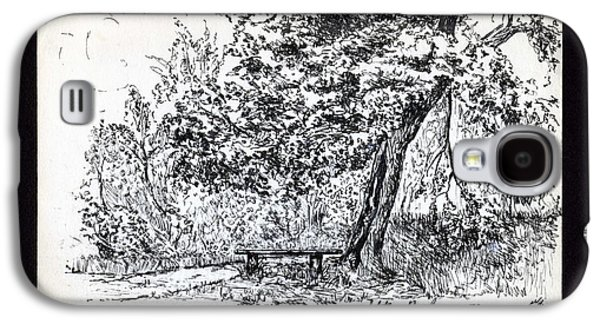 Park Scene Drawings Galaxy S4 Cases - A Quiet Corner 1958 Galaxy S4 Case by John Chatterley