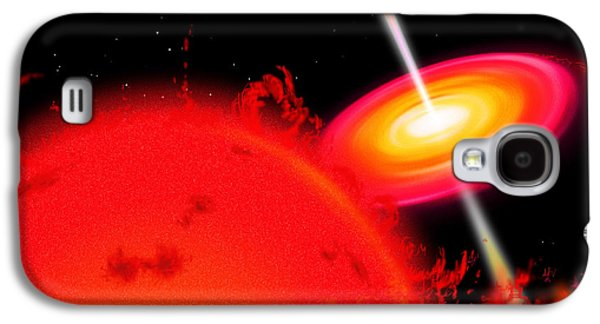 Jet Star Galaxy S4 Cases - A Red Giant Star Orbiting A Black Hole Galaxy S4 Case by Ron Miller