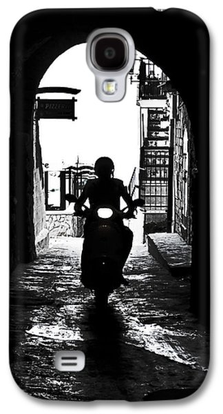 Lane Galaxy S4 Cases - a scooter rider in the back light in a narrow street in Italy Galaxy S4 Case by Joana Kruse