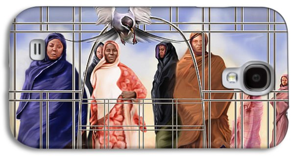 Slavery Paintings Galaxy S4 Cases - A Song For The Caged Birds Of Mauritania Galaxy S4 Case by Reggie Duffie