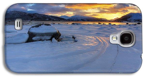 Sunset In Norway Galaxy S4 Cases - A Winter Sunset Over Tjeldsundet Galaxy S4 Case by Arild Heitmann