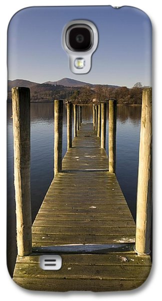 Trees Reflecting In Water Galaxy S4 Cases - A Wooden Dock Going Into The Lake Galaxy S4 Case by John Short