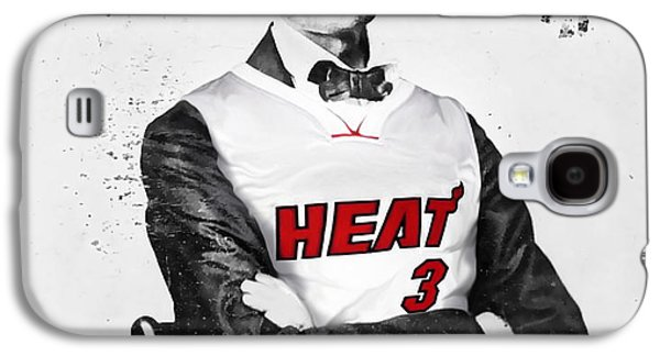 Dwyane Wade Galaxy S4 Cases - Abe Lincoln in a Dwyane Wade Jersey Galaxy S4 Case by Roly Orihuela