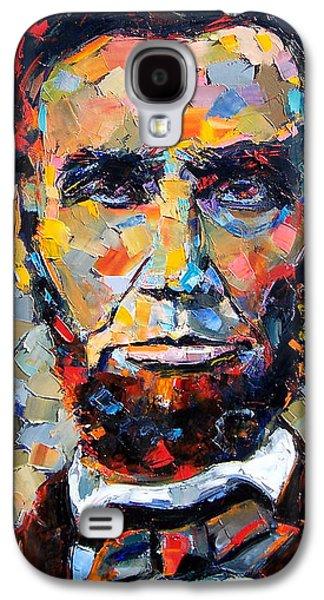 Portrait Paintings Galaxy S4 Cases - Abraham Lincoln portrait Galaxy S4 Case by Debra Hurd