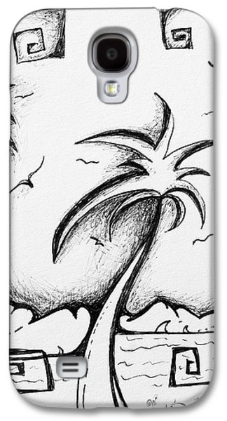 Abstract Landscape Drawings Galaxy S4 Cases - Abstract Art Black and White Tropical Sketch I by MADART Galaxy S4 Case by Megan Duncanson