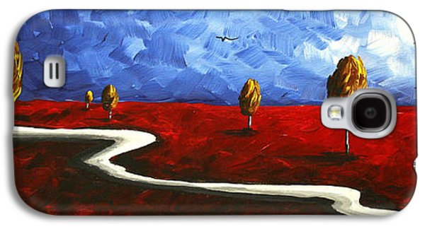 Blue Abstracts Galaxy S4 Cases - Abstract Art Original Landscape Painting WINDING ROAD by MADART Galaxy S4 Case by Megan Duncanson
