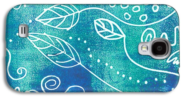 Abstract Block Print In Blue Galaxy S4 Case by Ann Powell