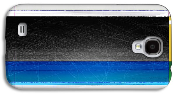 Modern Abstract Galaxy S4 Cases - Abstract with Blue and Yellow  Galaxy S4 Case by Naxart Studio