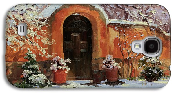 Wooden Door Galaxy S4 Cases - Adobe wall with wooden door in snow. Galaxy S4 Case by Gary Kim
