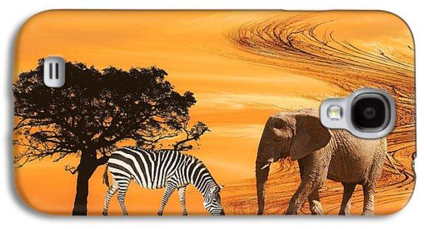 Zebra Digital Art Galaxy S4 Cases - African Safari Galaxy S4 Case by Sharon Lisa Clarke
