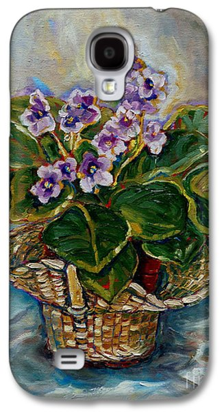 """""""indoor"""" Still Life Paintings Galaxy S4 Cases - African Violets Galaxy S4 Case by Carole Spandau"""
