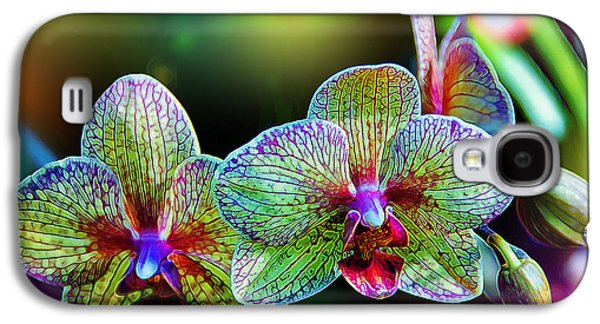 Floral Digital Art Galaxy S4 Cases - Alien Orchids Galaxy S4 Case by Bill Tiepelman
