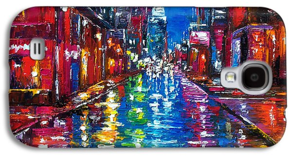 Cities Paintings Galaxy S4 Cases - All Night Long Galaxy S4 Case by Debra Hurd