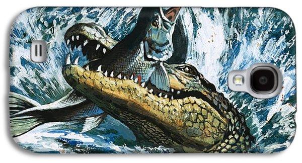 Alligator Eating Fish Galaxy S4 Case by English School