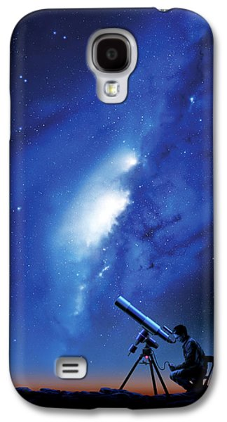 Stargazing Galaxy S4 Cases - Amateur Astronomy, Computer Artwork Galaxy S4 Case by Detlev Van Ravenswaay