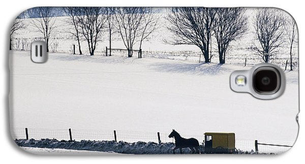 Old Country Roads Photographs Galaxy S4 Cases - Amish Horse and Buggy in Snowy Landscape Galaxy S4 Case by Jeremy Woodhouse