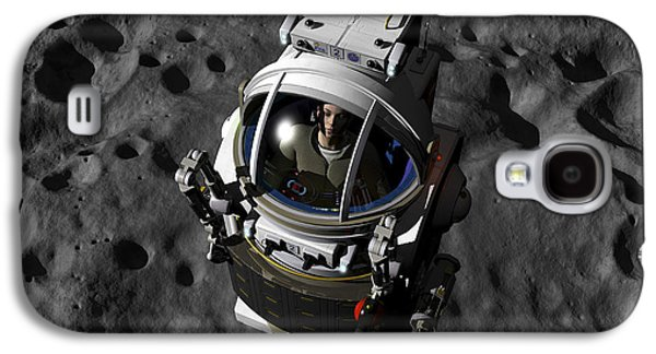 Planetoid Galaxy S4 Cases - An Astronaut Piloting A Manned Galaxy S4 Case by Walter Myers