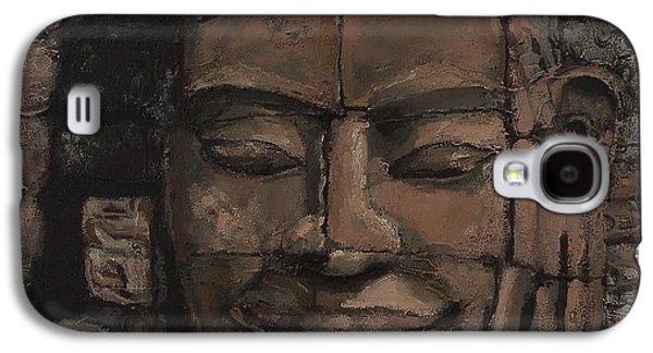 Statue Portrait Mixed Media Galaxy S4 Cases - Angkor Smile - Angkor Wat Painting Galaxy S4 Case by Khairzul MG
