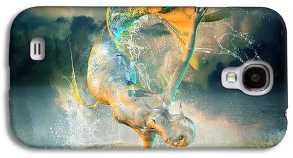 Waves Digital Art Galaxy S4 Cases - Aquatica Galaxy S4 Case by Karen H