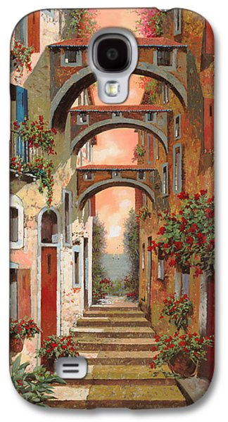 Street Paintings Galaxy S4 Cases - Archetti In Rosso Galaxy S4 Case by Guido Borelli