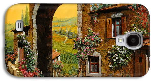 Wine Canvas Paintings Galaxy S4 Cases - Arco Di Paese Galaxy S4 Case by Guido Borelli