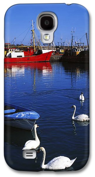 Boats In Reflecting Water Galaxy S4 Cases - Ardglass, Co Down, Ireland Swans Near Galaxy S4 Case by The Irish Image Collection