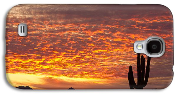 Sunset Posters Galaxy S4 Cases - Arizona November Sunrise With Saguaro   Galaxy S4 Case by James BO  Insogna