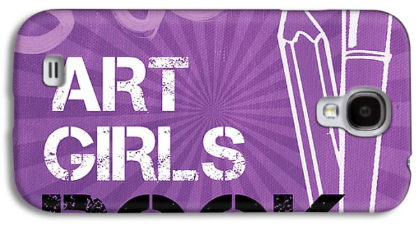 Girls Mixed Media Galaxy S4 Cases - Art Girls Rock Galaxy S4 Case by Linda Woods