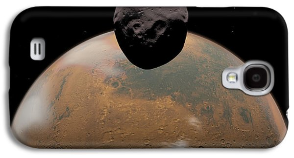 Planetoid Galaxy S4 Cases - Artists Concept Of Mars And Its Tiny Galaxy S4 Case by Walter Myers