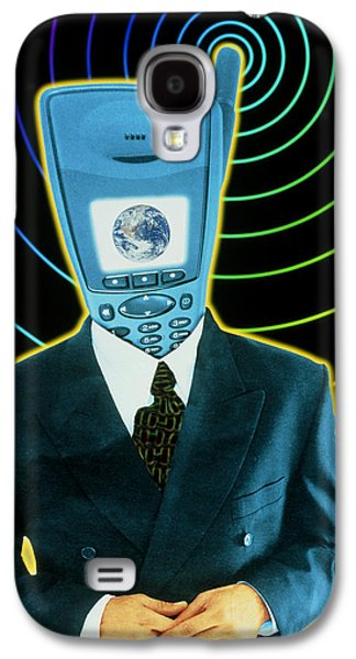 Art Mobile Galaxy S4 Cases - Artwork Of A Businessman With A Mobile Phone Head Galaxy S4 Case by Victor Habbick Visions