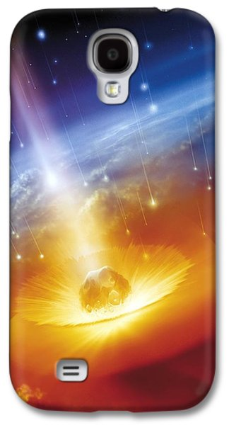 Planetoid Galaxy S4 Cases - Asteroid Impacting The Earth, Artwork Galaxy S4 Case by Detlev Van Ravenswaay