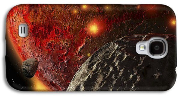 Planetoid Galaxy S4 Cases - Asteroid Impacts On The Early Earth Galaxy S4 Case by Ron Miller