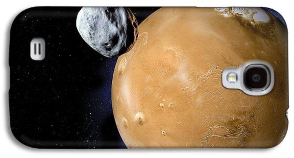 Planetoid Galaxy S4 Cases - Asteroid Near Mars, Artwork Galaxy S4 Case by Detlev Van Ravenswaay